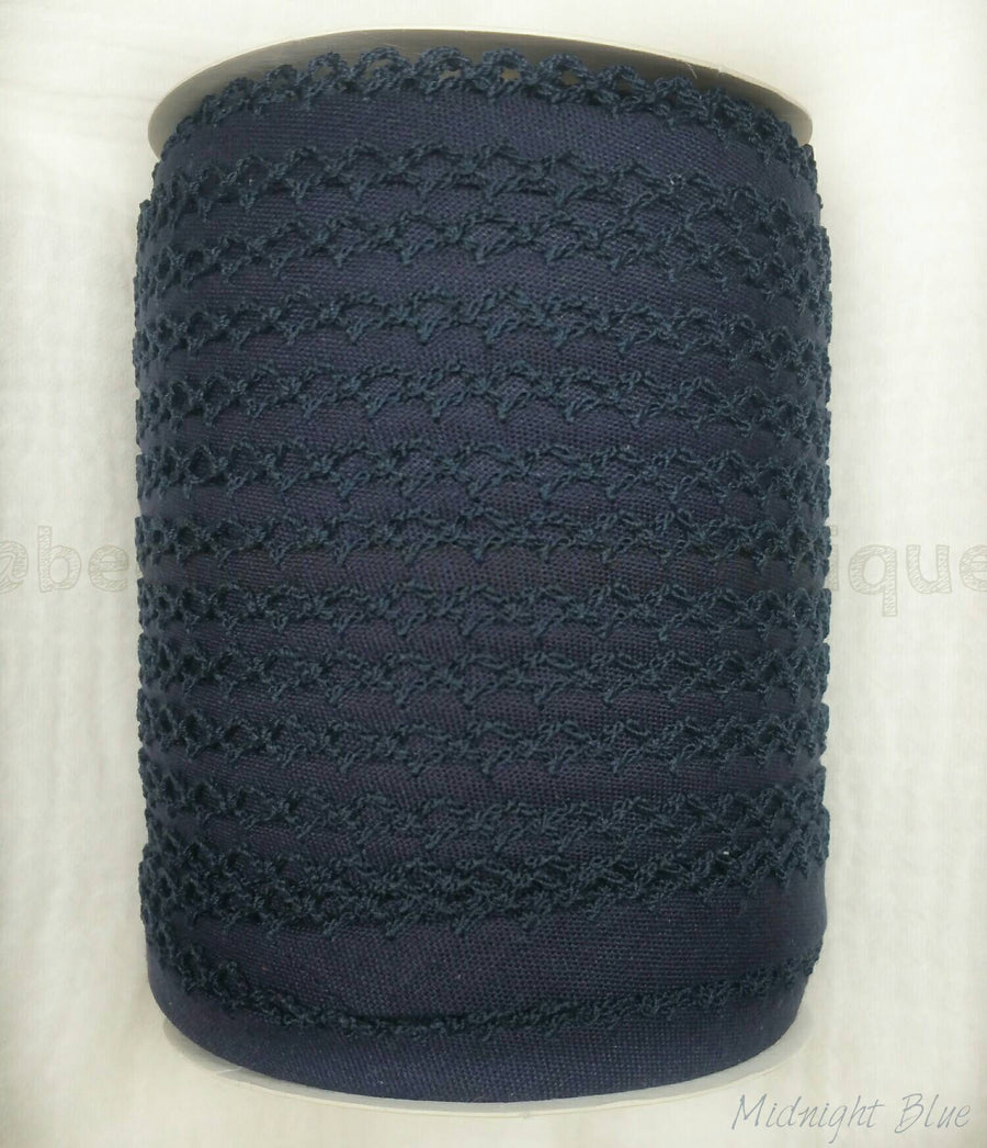 Picot Bias Tape, Crochet Edge Bias Tape, BLUE Bias Tape, Double Fold Bias Tape, Quilt Binding, MIDNIGHT BLUE Bias Tape, By the Yard, Lace