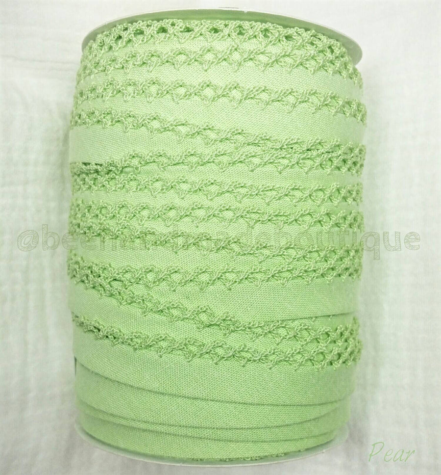 Green Crochet Edge Bias Tape, Double Fold Bias Tape, Picot Edge, Quilt Binding, PEAR GREEN Crochet Bias Tape, By the Yard, Green Lace Bindin