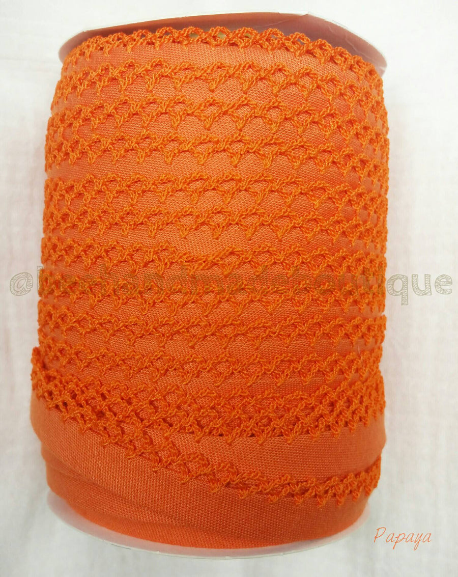 Orange Crochet Bias Tape, Double Fold Crochet Edge Bias Tape, Picot Edge Bias Tape, Quilt Binding, PAPAYA Crochet Bias Tape, Bias Binding