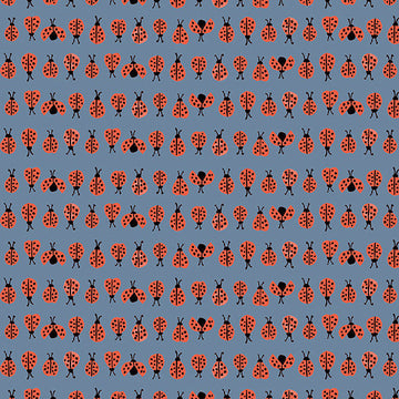 Ladybugs Blue Fabric