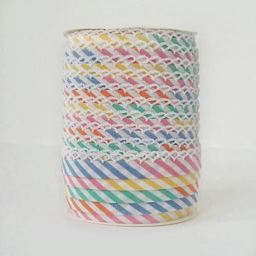 Rainbow Crochet Edge Double Fold Stripe Bias Tape