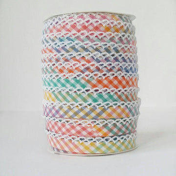 Rainbow Crochet Edge Double Fold Gingham Bias Tape