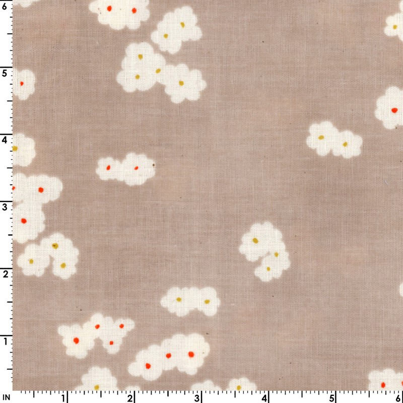 Muddy Work - White Floral in Mushroom | Double Gauze