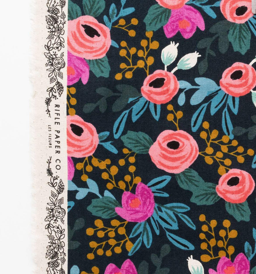 Menagerie - Rosa Floral in Navy | Canvas