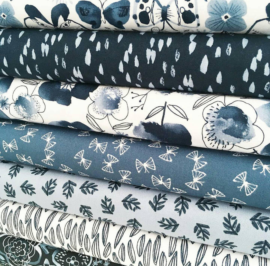Winter Blue Plant Fabric