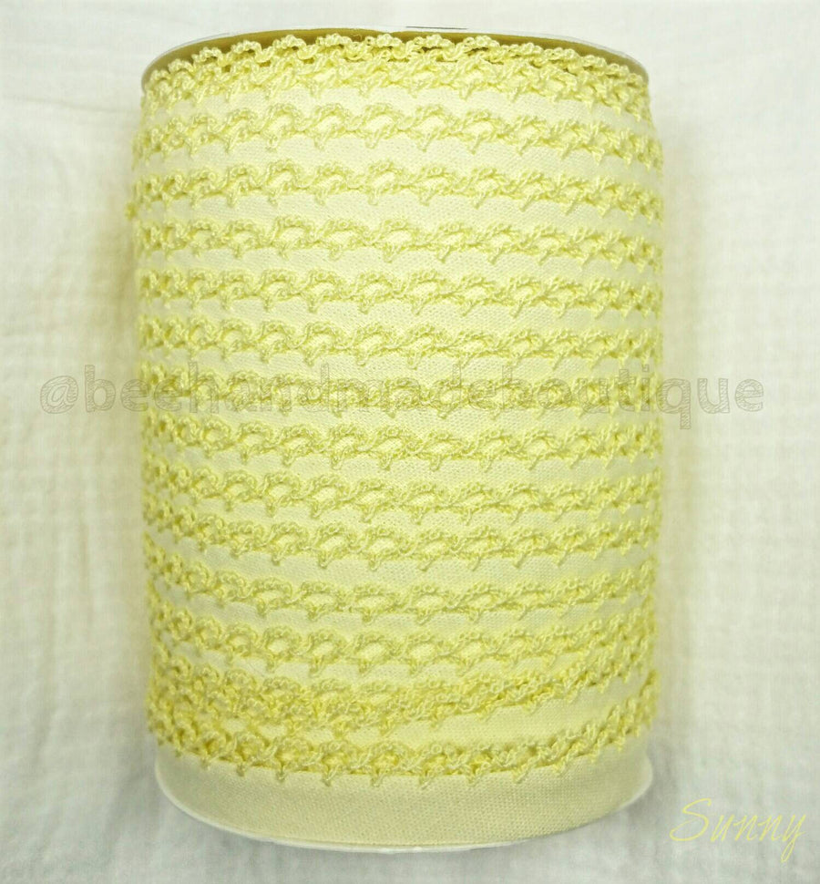 Yellow Crochet Bias Tape, Double Fold Bias Tape, Crochet Edge Bias Tape, Quilt Binding, Light Yellow Lace, SUNNY YELLOW Picot Egde Bias Tape
