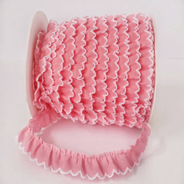 Pink Crochet Edge Ruffled Lace Trim