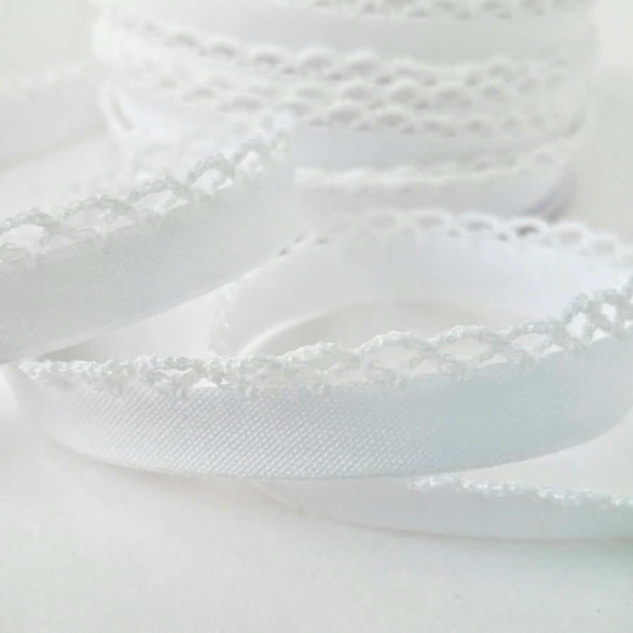 Crochet Bias Tape, Double Fold Bias Tape, Crochet Edge Bias Tape, Quilt Binding, Lace Bias Tape, Trim, WHITE Bias Tape, White Lace Trim, BTY