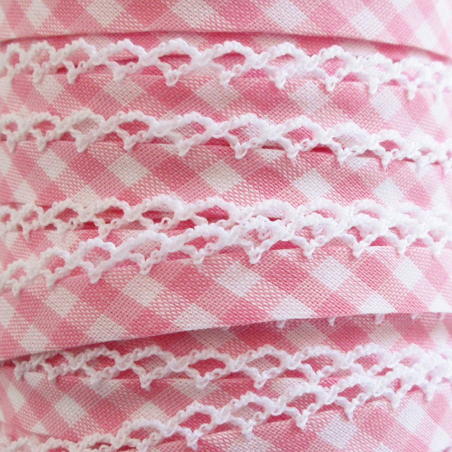 Pink Gingham Double Fold Bias Tape