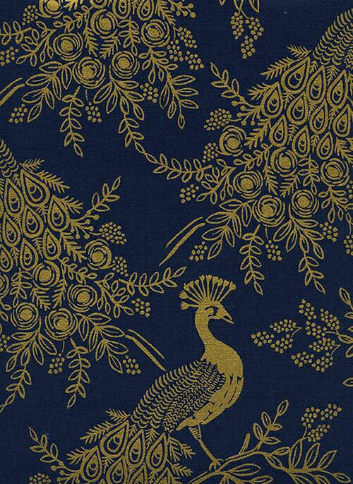 Menagerie - Royal Peacock in Navy Metallic | Canvas