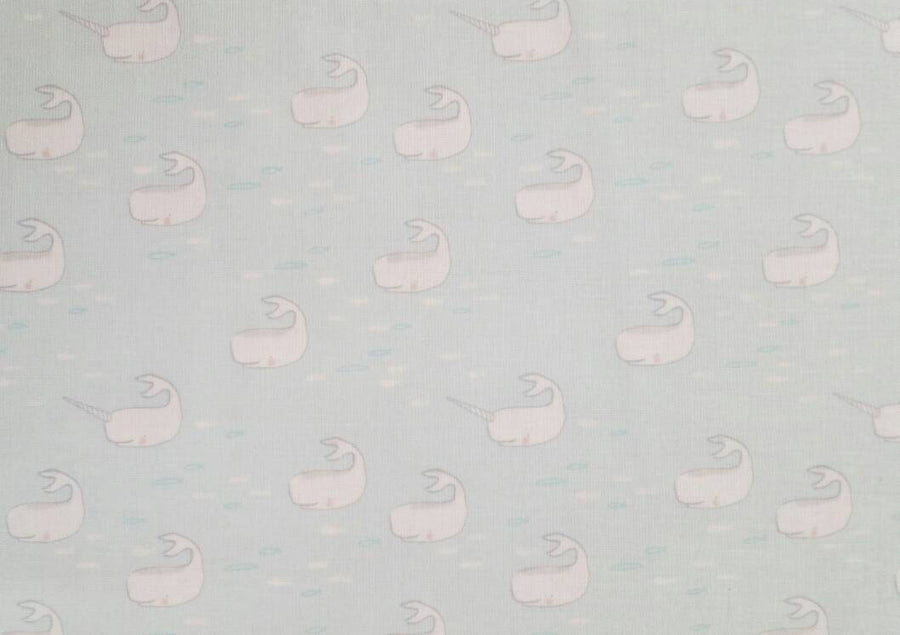 Michael Miller Fabric, Narwhal Fabric, Find the Narwhals in Aqua Blue, Best of Sarah Jane, Out to the Sea Fabric, Fabric by the Yard