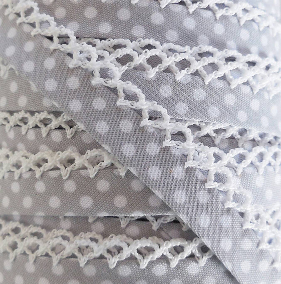 Gray Polka Dot Bias Tape