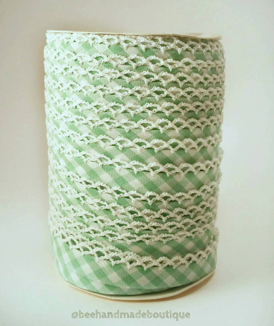 Green Gingham Bias Tape