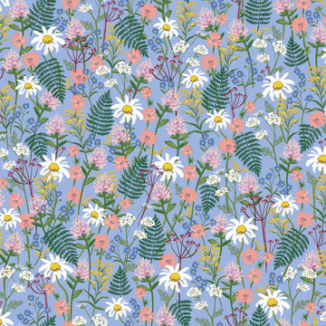 Wildwood - Wildflowers in Periwinkle | Cotton Lawn