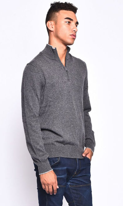 3VERY Men's 100% Cashmere Classic 1/4 Zip w/Striped Accent