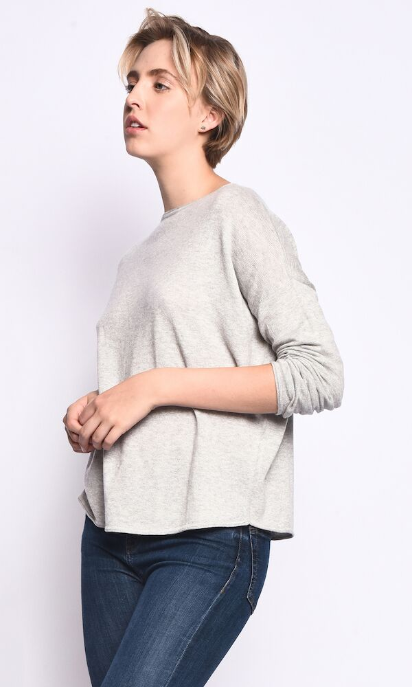 3VERY Women's Cashmere-Silk-Cotton Triangle-Shaped Round Neck