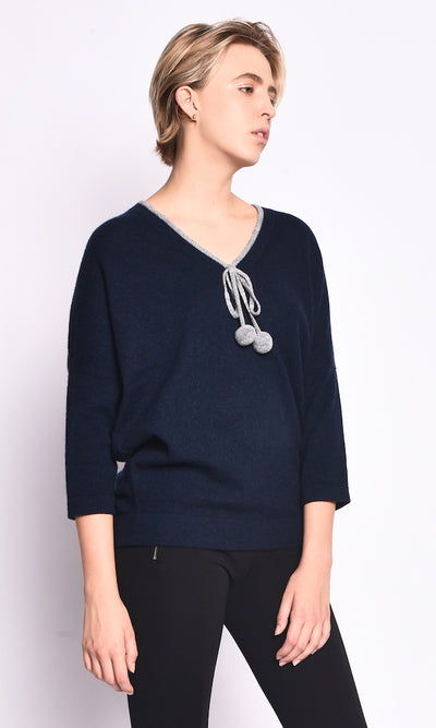 3VERY Women's 100% Cashmere V-Neck w/Fuzzy Balls