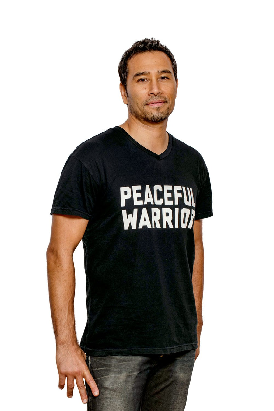 Peaceful Warrior Unisex V-Neck Tee Black