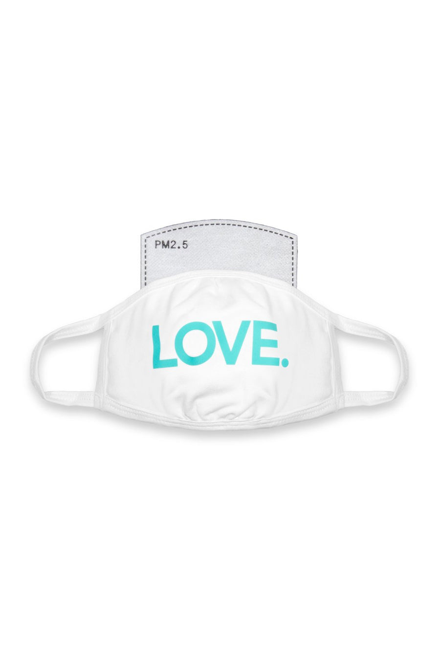 LOVE All Caps Mask White/Turquoise