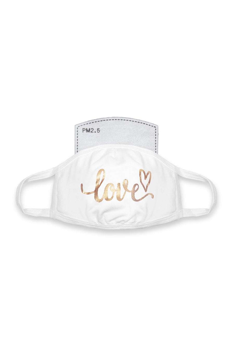 Love Cursive Mask White/Gold