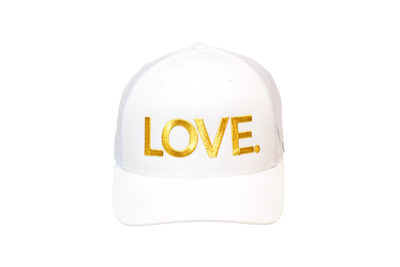 LOVE All Caps Trucker White/Gold
