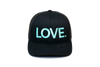 LOVE All Caps Trucker Black/Turquoise