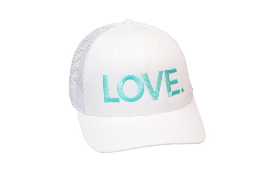 LOVE ALL CAPS Trucker White/Turquoise