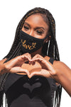 Love Cursive Mask Black/Gold