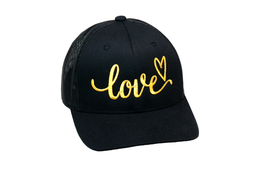 Love Cursive Trucker Black/Gold