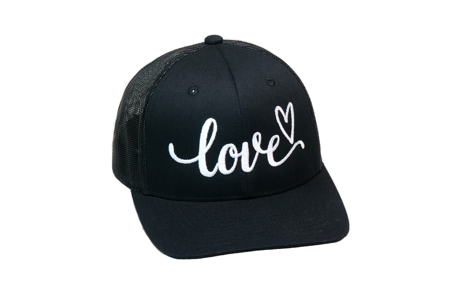 Love Cursive Trucker Black