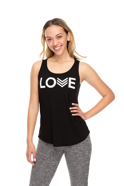 Love Chevron Tank - Black/White Chevron