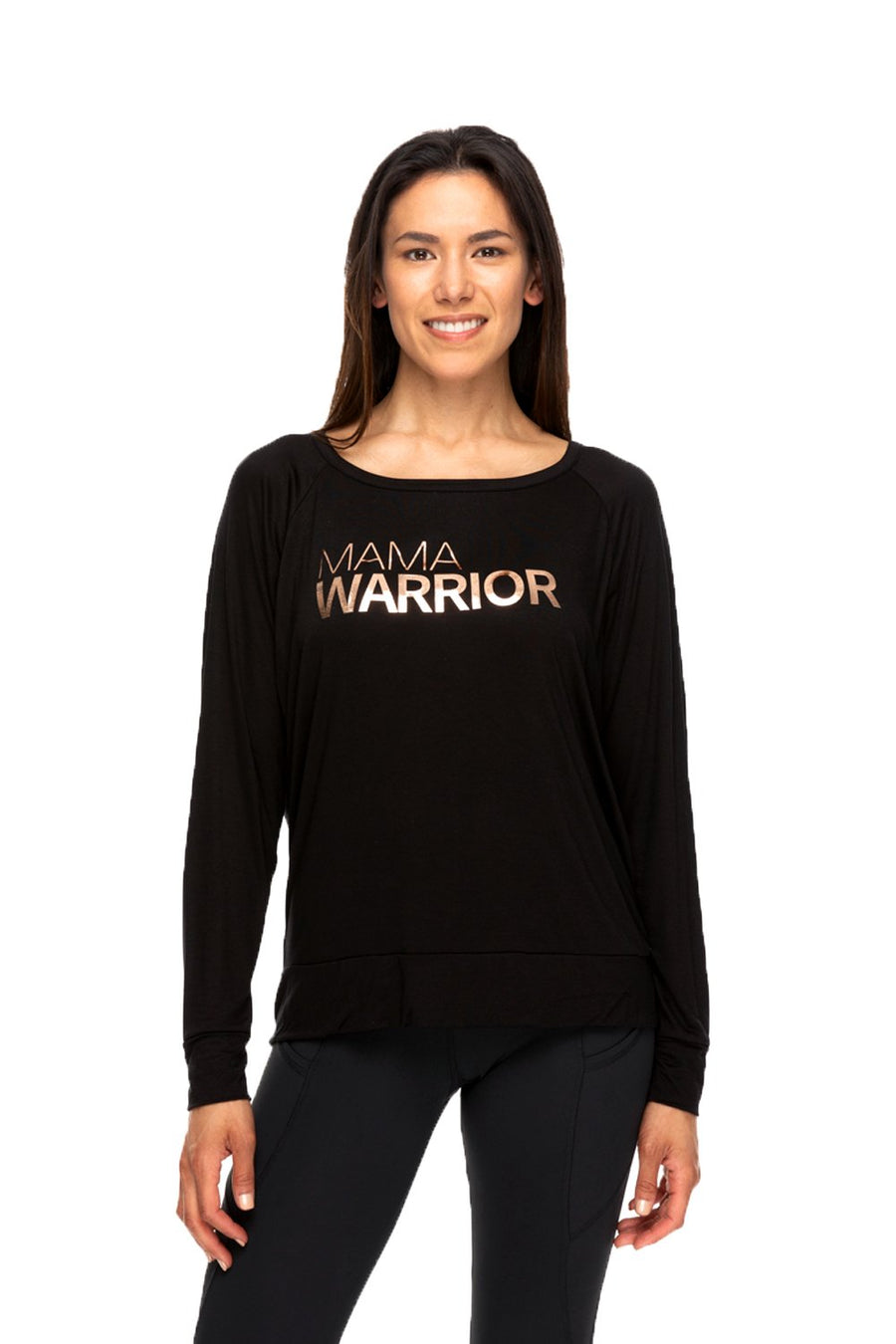 Mama Warrior Long Sleeve Tee Black/Rose Gold