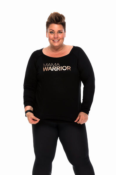 Mama Warrior Long Sleeve Tee Rose Gold