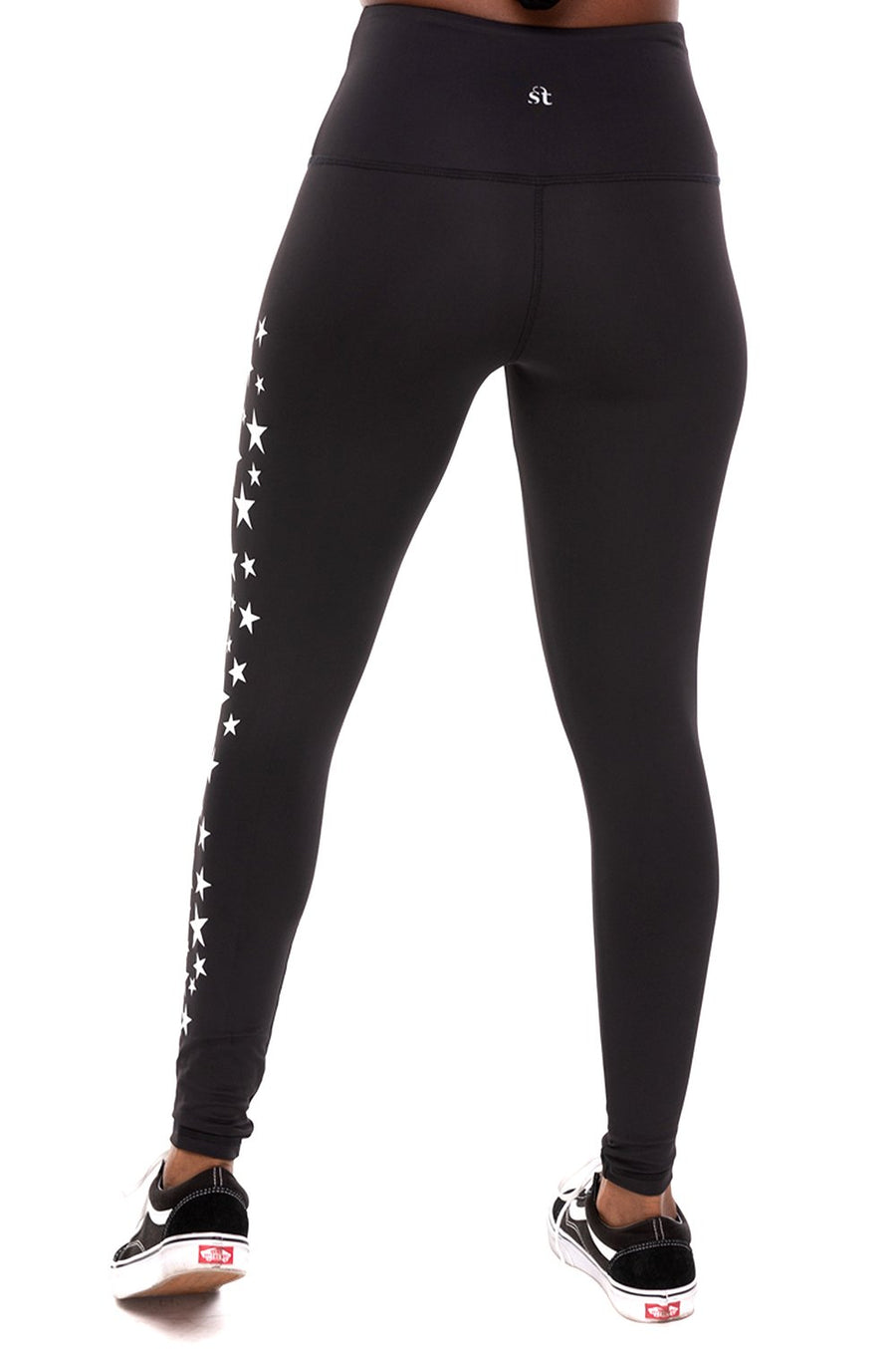 Star Cluster High Waist Ankle Legging - Black/White Stars