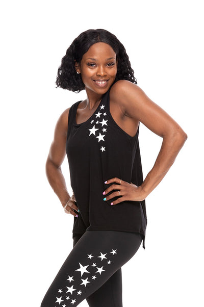 Star Cluster Open Back Tank - Black/White Stars