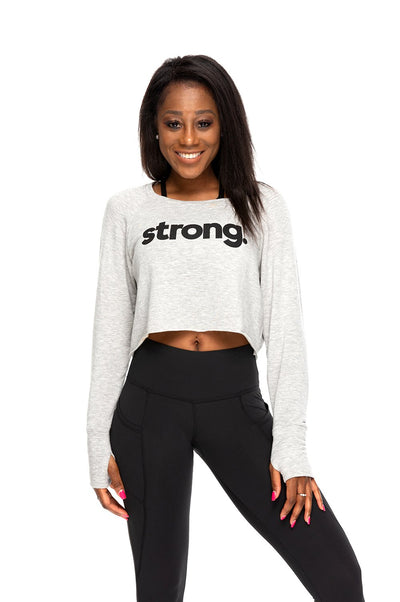 Strong Fleece Crop Long Sleeve Pullover