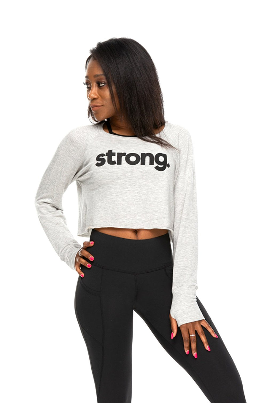 Strong Fleece Crop Long Sleeve Pullover Heather Grey