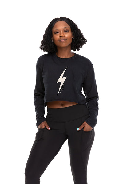 Thunderbolt Crop Long Sleeve Tee