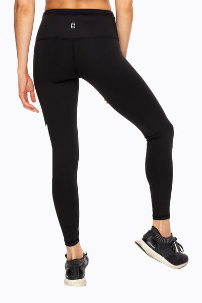 Thunderbolt High Waist Ankle Legging - Black/White Bolt