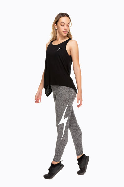 Thunderbolt High Waist Ankle Legging - Charcoal/White Bolt