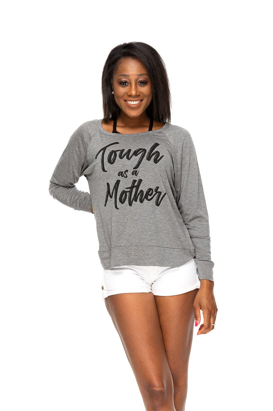 Tough As A Mother Long Sleeve Tee - Charcoal