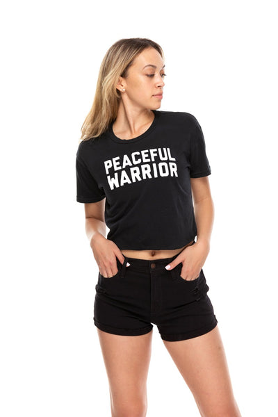 Peaceful Warrior Crop Crew Neck Tee Black