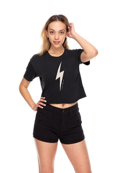 Thunderbolt Crop Crew Neck Tee Black
