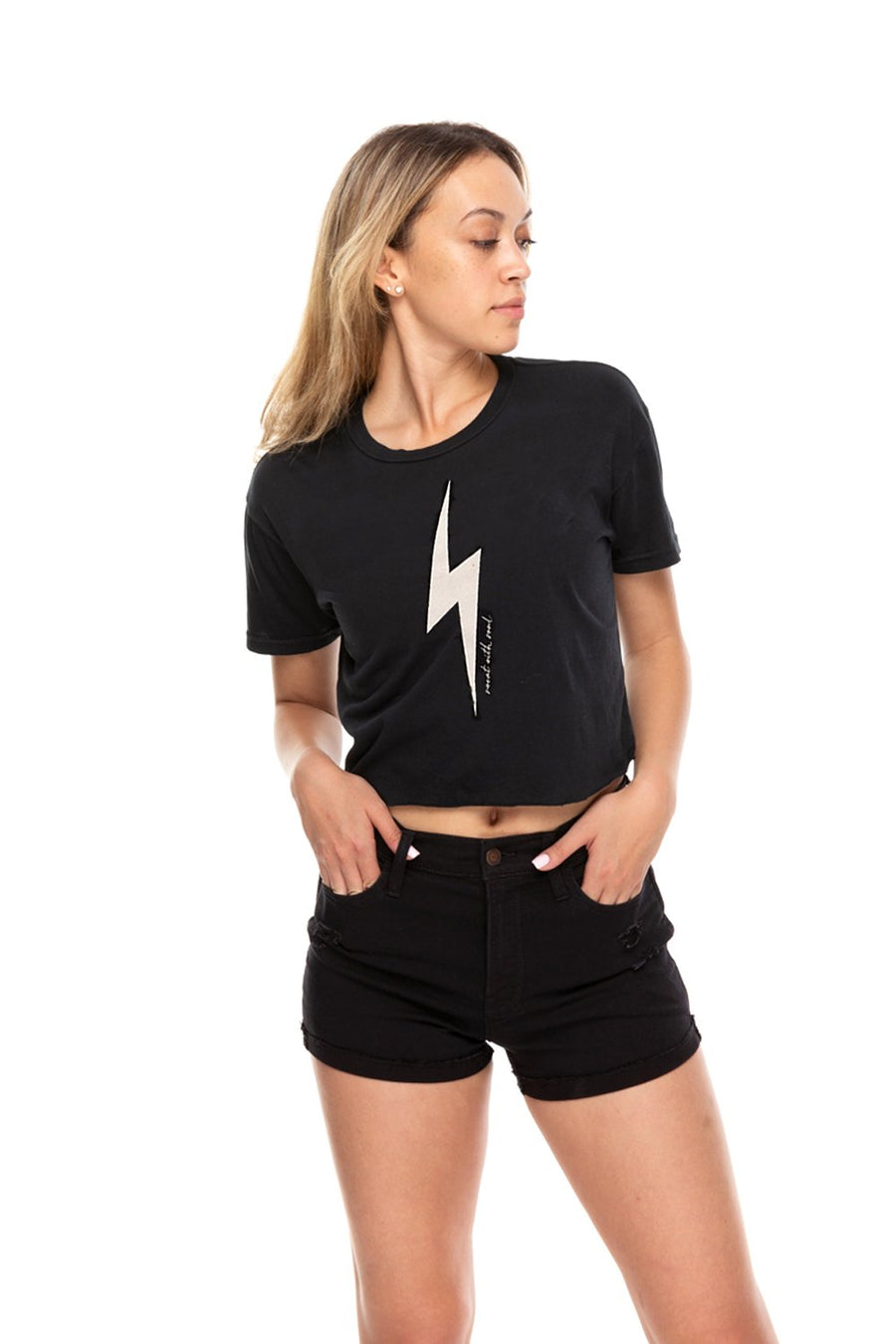 Thunderbolt Crop Crew Neck Tee