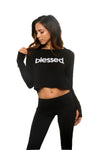 Blessed Period Fleece Crop Long Sleeve Pullover