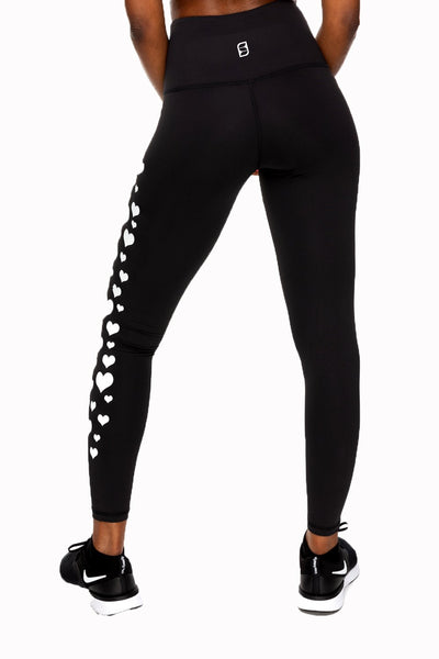 All Heart High Waist Ankle Legging - Black/White Hearts