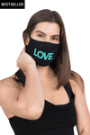 LOVE All Caps Mask Black/Turquoise