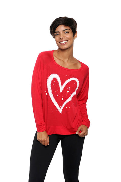 Love Big Long Sleeve Tee Red
