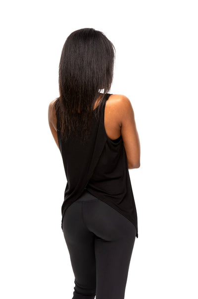 Love Big Open Back Tank Black