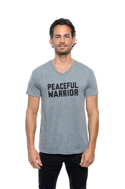 Peaceful Warrior Unisex V-Neck Tee Grey
